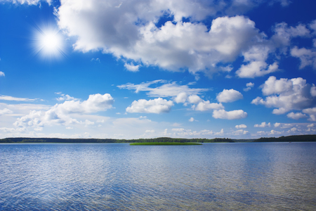 braslav: Braslav lakes and beautiful blue sky with clouds