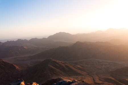 big bible: Sunrise over the mountains of Sinai in Egypt Stock Photo