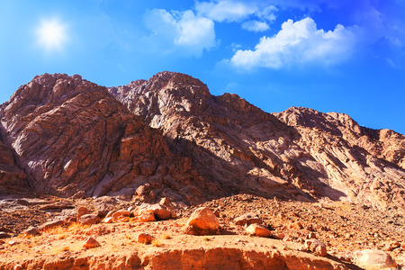 bible ten commandments: Mount Moses in the Sinai desert, Egypt
