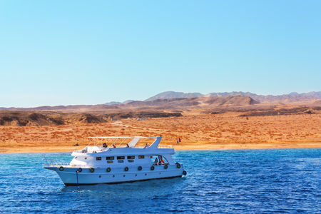 el sheikh: Luxury yacht is sailing in the Red Sea along the coast of Sharm El Sheikh