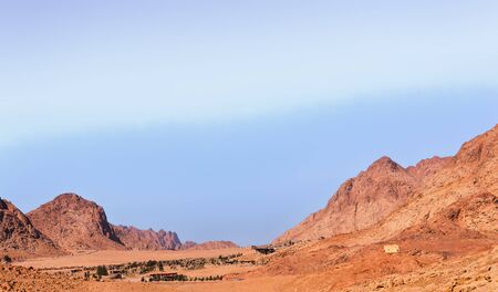 View of the Sinai mountains and desert in Egypt