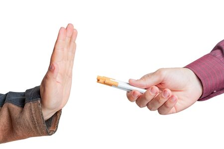 give up: Man give up cigarettes isolated on white background Stock Photo