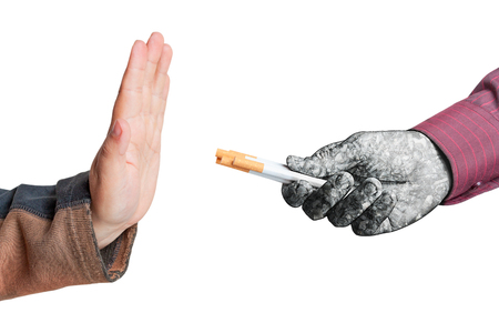 Man give up cigarettes isolated on white