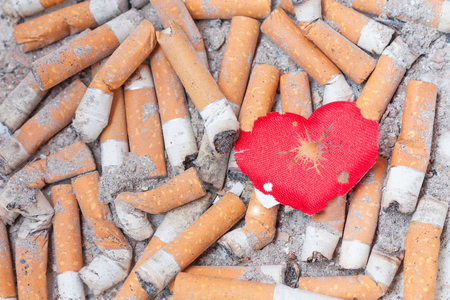 wounded heart: Wounded heart on cigarette bulls. Stop smoking now