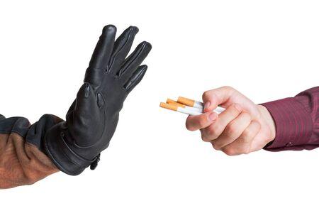refused: El hombre rechaz� la oferta de un cigarrillo aislado Foto de archivo