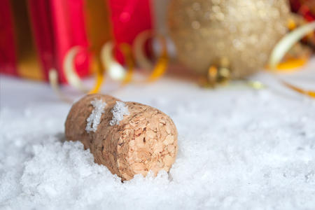 the snowflake: New Year 2016 concept with champagne cork and snow Stock Photo