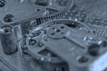 Clockwork Background. Old Clock Watch Mechanism With Gears Macro