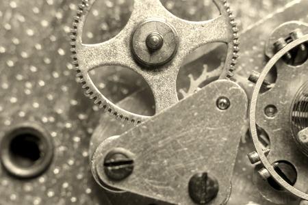 Clockwork Background. Clock Watch Mechanism With Gears Macro Stock Photo