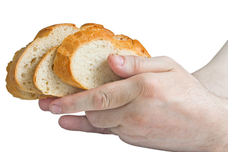 Man holding white bread slices in his hands isolated on white background Stock Photo