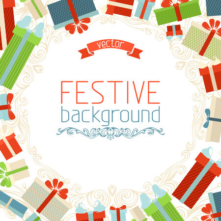 Christmas background. Gift boxes frame. There is place for your text in the center on white area. Vector