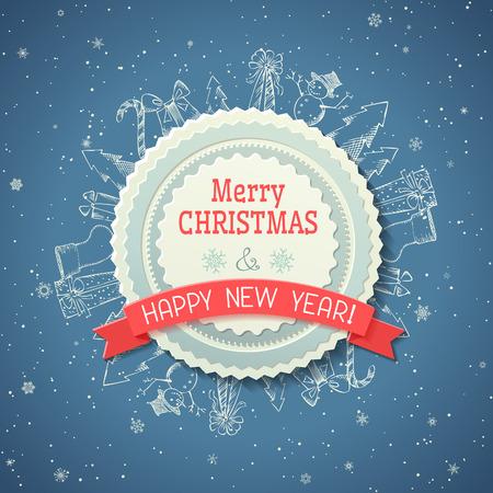 Tiza fondo de Navidad. Placa en el centro y tiza objetos de Navidad sobre fondo azul. Foto de archivo - 32963322