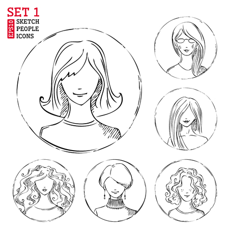 Sketch people icons. Women hand-drawn round pictograms isolated on white background. Vector