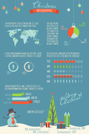 Christmas infographic. Vector set of charts, icons, diagrams and other data elements. Vector