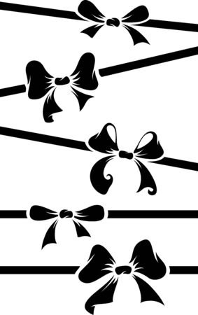 ribbons and bows: Black bows and ribbons isolated on white background. Vector illustration for your festive design. EPS 8. Illustration