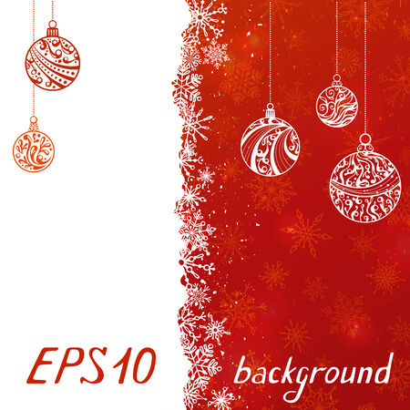 EPS10. Christmas balls. Hand-written text. There are space for text on white and red areas. All objects are on separate layers.