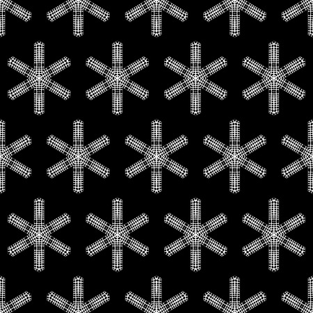 Seamless texture of crochet snowflakes. Vector