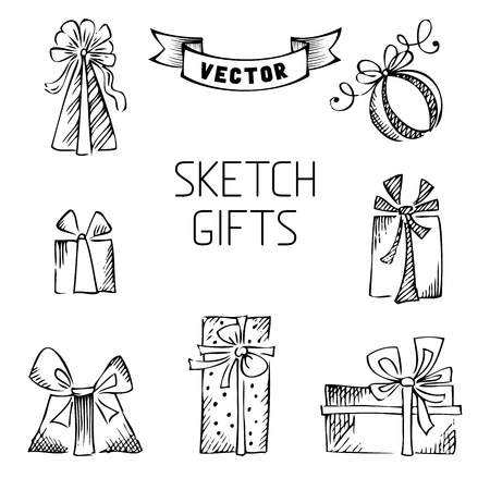 Hand drawn elements for your festive design. Vector