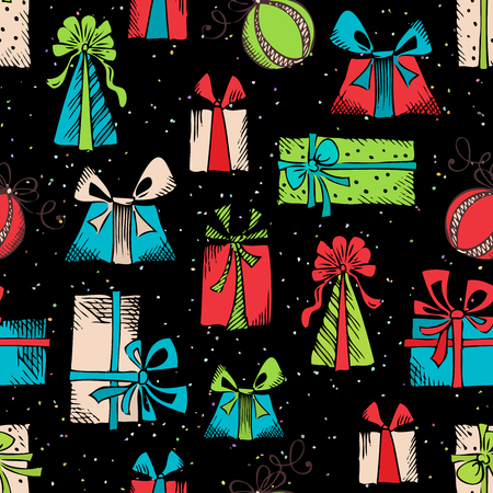 Hand drawn gifts on black background. Vector