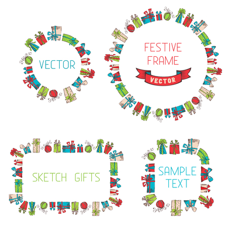 Vector frames of sketch gifts. There is place for your text. Vector