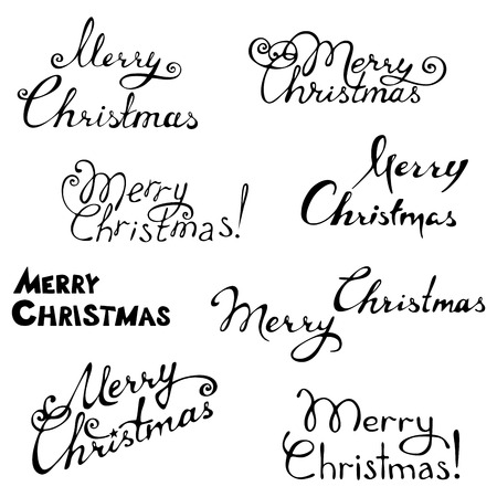 your text: Hand-written text. Vector illustration for your design. Christmas template.