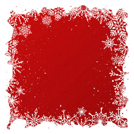 place for text: Ornate white snowflakes on red background. Christmas template with place for your text on red area. Illustration