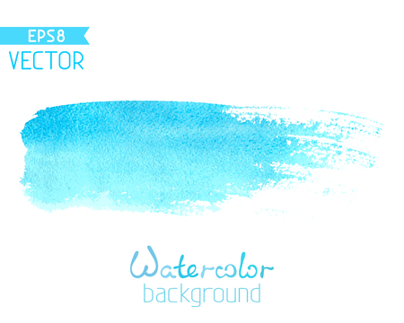 Blue watercolour brush stroke isolated on white background. There is place for your text.