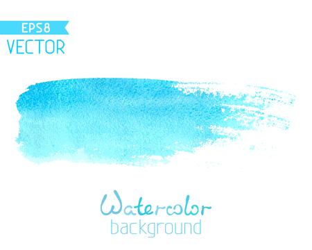 블루 수채화 브러시 스트로크 흰색 배경에 고립입니다. 텍스트에 대 한 장소가있다.