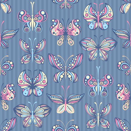 Various butterflies on striped background. Pastel colours. EPS 8. Vector