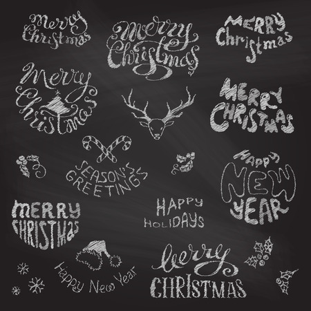 Merry Christmas and Happy New Year lettering. Chalk hand-drawn design elements on blackboard background.