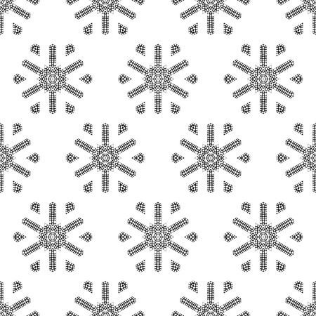 Endless background for your Christmas design. Black and white illustration. Vector