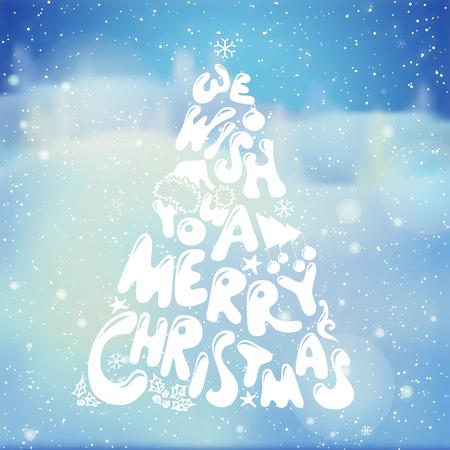 christmas scene: Winter landscape blurred backdrop. Vector illustration. Festive hand-written lettering. Illustration