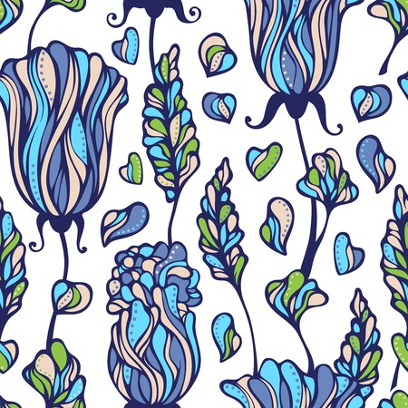 Various flowers and leaves on light background. Seamless pattern can be used for wallpapers, web page backgrounds or wrapping papers. EPS 8.. Vector