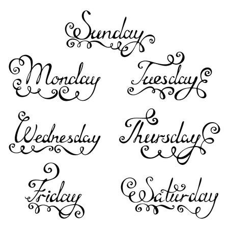 Jours de la semaine pour votre conception isolés sur background.EPS blancs 8.