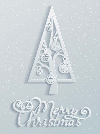 Paper design. Festive spruce with Christmas balls. Hand-written text. Vector illustration for your design. Christmas template. Blank space for your text. Vector greeting card.  イラスト・ベクター素材