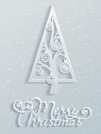종이 디자인. 크리스마스 볼와 축제 가문비 나무입니다. 손으로 쓴 텍스트. 벡터 일러스트 레이 션. 크리스마스 템플릿입니다. 텍스트에 대 한 빈 공간