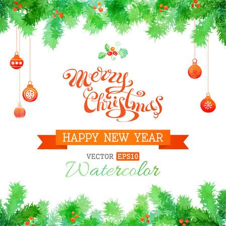 christmas watercolor: Hand-written Merry Christmas. Watercolor Christmas balls and evergreen branches.