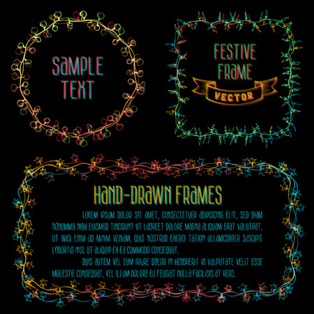 string of christmas lights: Set of vector design elements. There is place for your text in the center.