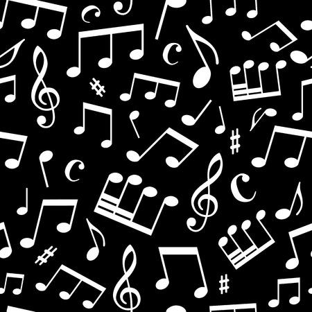 검정색 배경에 흰색 음악 요소입니다. 원활한 사각형 패턴 월페이퍼, 웹 페이지의 배경 또는 포장 종이 사용될 수있다.