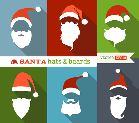 red hat: Flat Christmas icons with long shadow. Retro design. Illustration