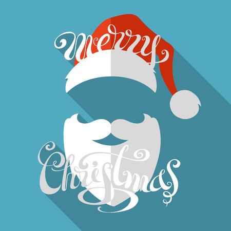 Hand-written text. Santa hat, moustache and beard. Illustration