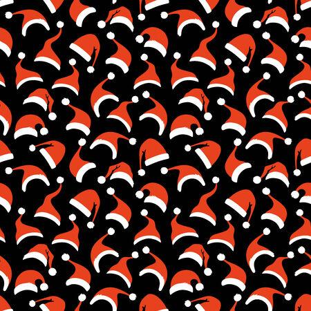 hat new year happy new year festive: Various Santa hats on black background. Illustration