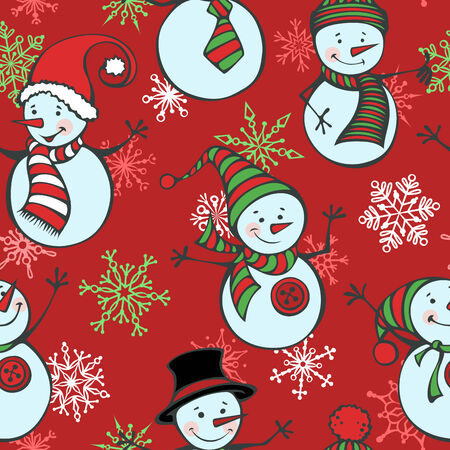 Winter background. Cute cartoon snowmen in vector on red background. Vector