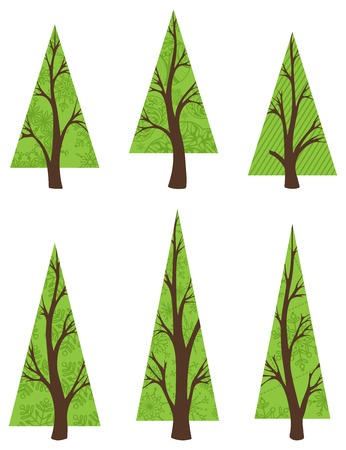 xmas tree: EPS 8. Various design elements for your design. Easy for edit. Illustration