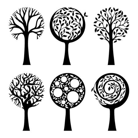 duotone: Six different trees isolated on white background. Duotone illustration.