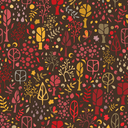 Ornate autumnal trees, leaves, rain and various elements on dark background