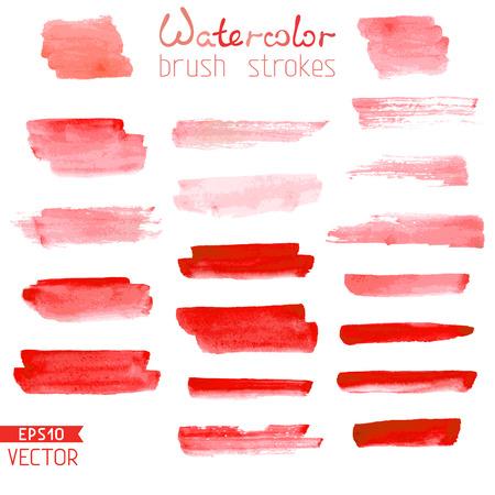 pincel: Rayas rojas acuarela aislados sobre fondo blanco. Ilustración del vector.