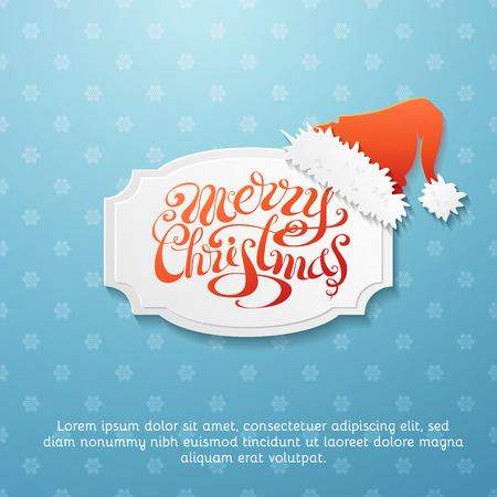 holiday greeting: Blue snowflakes background and paper badge with Santa hat. There is place for your text.