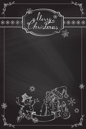 Chalk ornate frame, badge, snowflakes and Christmas objects. Festive hand-drawn design. Vector