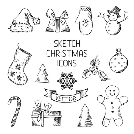 Sketch pencil Christmas objects for your design. Vector