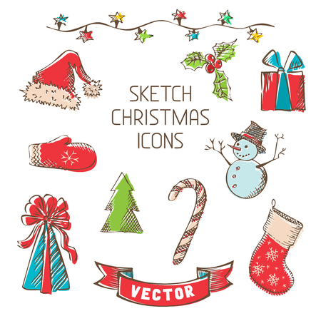 christmas candies: Hand-drawn retro Christmas objects for your design isolated on white background. Illustration